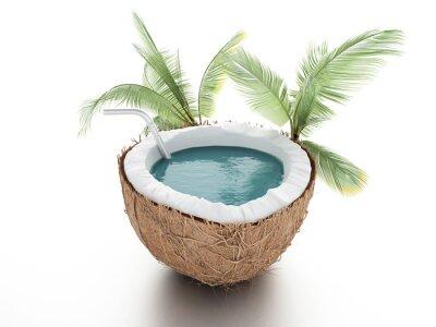 Adesivo paraíso de coco. conceito do verão no fundo branco