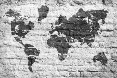 Adesivo Parede branca e um mapa de imagem do mundo