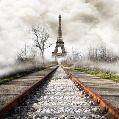 Adesivo Parigi no treno do vintage
