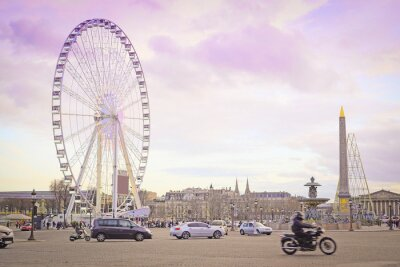 Adesivo Paris, França - 7 de fevereiro de 2016: Ferris roda na Place de la Concorde em Paris, França