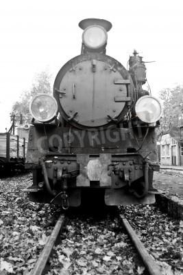 Adesivo parte do antigo trem a vapor em preto e branco