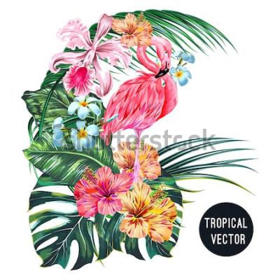 Adesivo Pássaro cor-de-rosa do flamingo, flores tropicais, folhas de palmeira, monstera, plumeria, hibiscus, flor da orquídea, composição da folha da selva. Vector ilustração botânica de plantas exóticas, iso