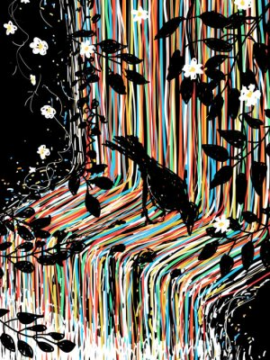 Adesivo Pássaro e cachoeira