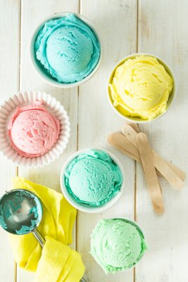 Adesivo Pastel ice cream in white bowls, wood background, copy space