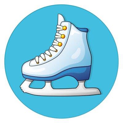 Adesivo Patim de gelo branco em um fundo azul, ícone redondo.