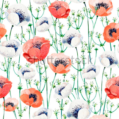 Adesivo Pattern consist of white and coral Anemones, white inflorescences on the green stems.