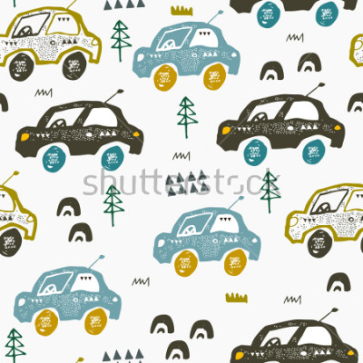 Adesivo Pattern with cars. Hand drawn autos on the road. Scandinavian style design. Decorative abstract art. Textile or fabric design