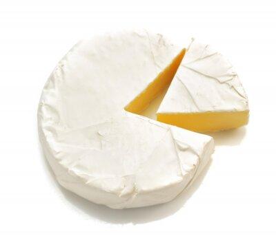 Adesivo Pedaço de queijo de queijo isolado no branco
