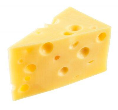 Adesivo Pedaço de queijo isolado. Com trajeto de grampeamento.