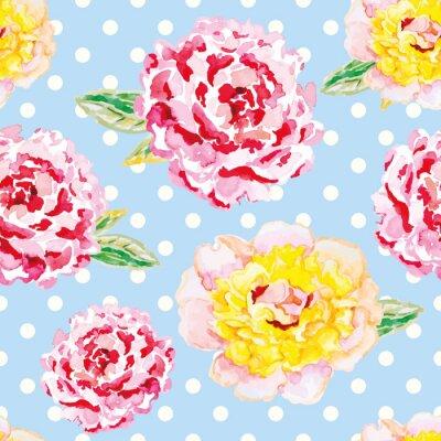 Adesivo Peônias cor-de-rosa e amarelas na luz - fundo azul do às bolinhas. Teste padrão sem emenda da aguarela com flores. Shabby chique.