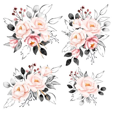 Adesivo Peonies, watercolor pink and gray flowers set. Floral summer vintage collection isolated on white background. Hand drawing. Perfectly for wedding, birthday, party, other greetings design.