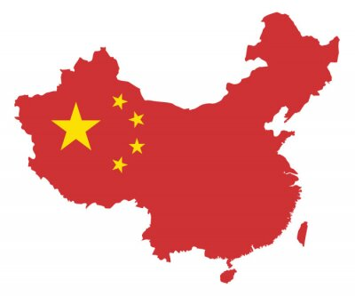 Adesivo Peoples Republic of China Flag in Map Vector Illustration