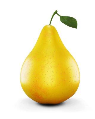 Adesivo Pera amarela madura no fundo branco. 3d.