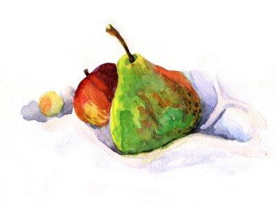Adesivo Pêra e maçã, aguarela