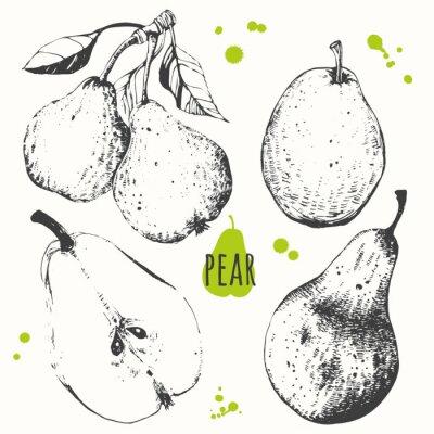 Adesivo Pera. Jogo da mão pêra desenhada. Alimentos orgânicos frescos.