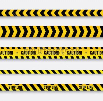 Adesivo Perigo e linha policial. Fita De Advertência Amarela. Ilustração vetorial.