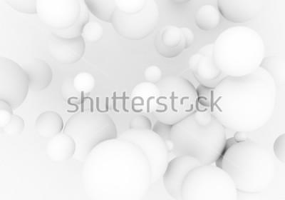 Adesivo Pérolas brancas voam no espaço. As esferas mattas da esfera 3d estão caindo - rendem a ilustração. Fundo de papel de parede elegante moderno abstrato