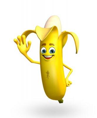 Adesivo Personagem de banda desenhada da fruta da banana