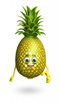 Adesivo Personagem de banda desenhada de abacaxi