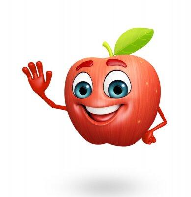 Adesivo Personagem de banda desenhada de frutas maçã