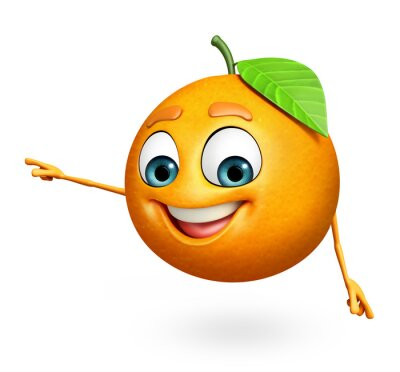 Adesivo Personagem de banda desenhada de laranja