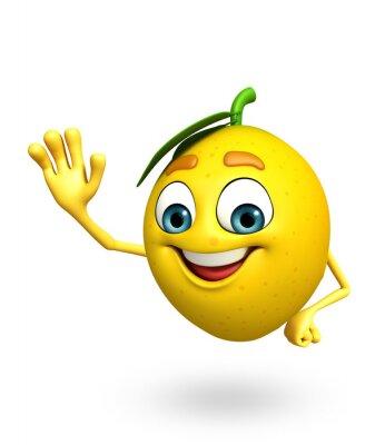 Adesivo Personagem de banda desenhada de limão
