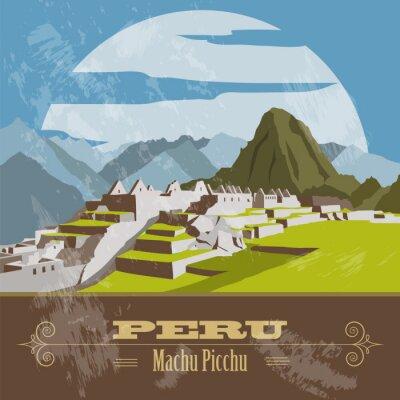 Adesivo Peru  landmarks. Retro styled image.