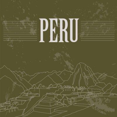 Adesivo Peru marcos históricos. Imagem denominada retro.