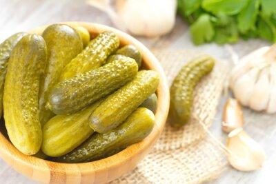 Adesivo Pickled, pepinos, madeira, tigela