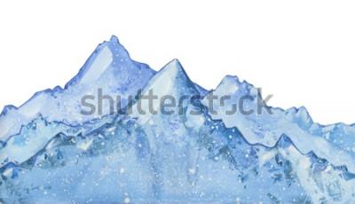 Adesivo pico de inverno azul nevado aquarela. Entregue a ilustração tirada do inverno no fundo branco.