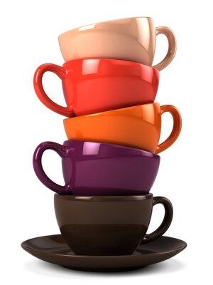 Adesivo Pilha, café, copos, isolado, branca