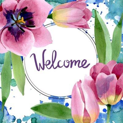 Adesivo Pink tulips floral botanical flowers. Watercolor background illustration set. Frame border ornament square.
