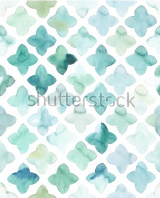 Adesivo Pintados à mão, flor, aquarela, turquesa, como, padrão, sem, emenda, allover, geométrica, em, repetição