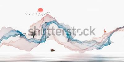 Adesivo Pintura a tinta, paisagem artística, fundo de linhas abstratas