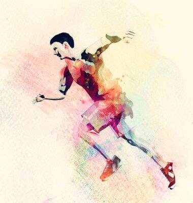 Adesivo Pintura colorida da aguarela do corredor do homem. Resumo fundo de desporto criativo