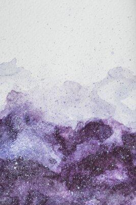 Adesivo pintura de espaço com tinta aquarela roxa no fundo branco