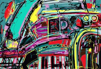 Adesivo pintura digital original de composição abstração