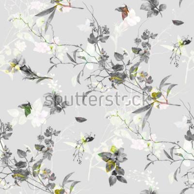 Adesivo Pintura em aquarela de folhas e flores, sem costura padrão em fundo cinza