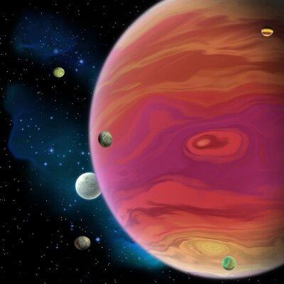 Adesivo Planeta de Júpiter - Júpiter é o maior planeta gigante de gás em nosso sistema solar com 67 luas e tem um grande vórtice de mancha vermelha abaixo do equador.