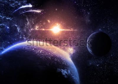 Adesivo Planeta escuro e da lua sobre uma estrela brilhante - elementos da imagem fornecida pela NASA