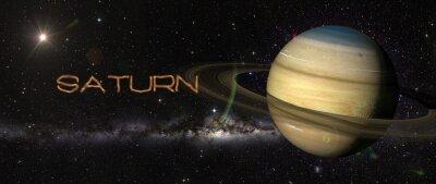 Adesivo Planeta Saturno no espaço exterior.