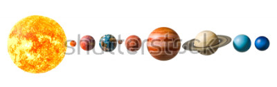 Adesivo Planets of the solar system, 3D rendering isolated on white background, Elements of this image furnished by NASA