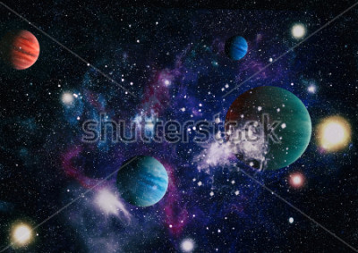 Adesivo planets, stars and galaxies in outer space showing the beauty of space exploration. Elements furnished by NASA