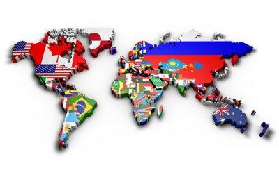 Adesivo Planisfero mondo 3d con bandiere em rilievo