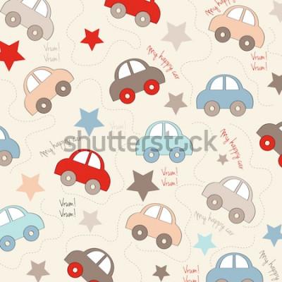 Adesivo plano de fundo sem emenda com carros, ilustração vetorial