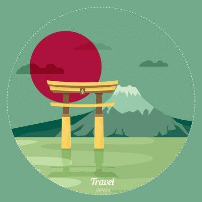 Adesivo Plano, desenho, paisagem, Japão, Ilustração, vetorial