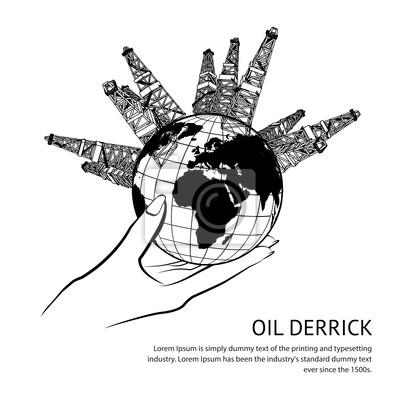 Adesivo Plataforma de petróleo na mão