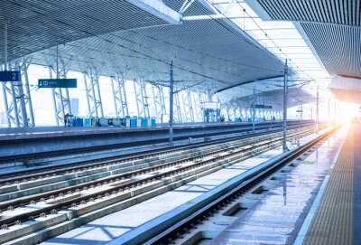Adesivo plataforma ferroviária fundo vazio