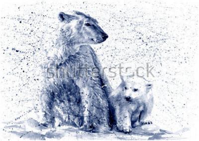 Adesivo Polar bear black&white