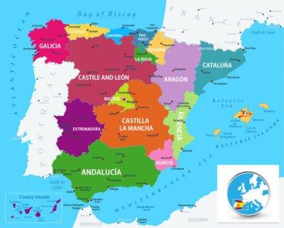 Adesivo Political map of Spain